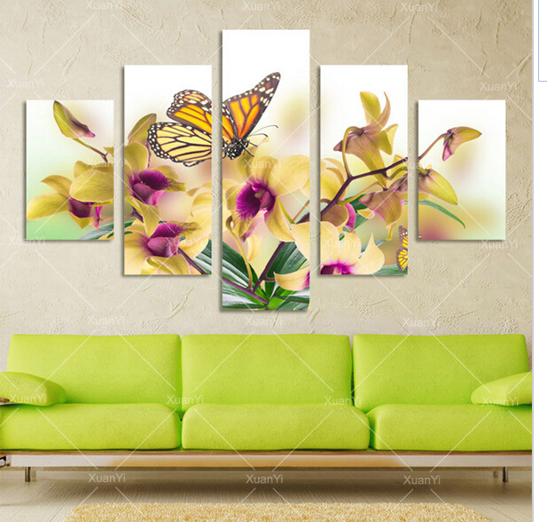 5 Panel moderna grande mariposa de la flor de la lona pintura al ...