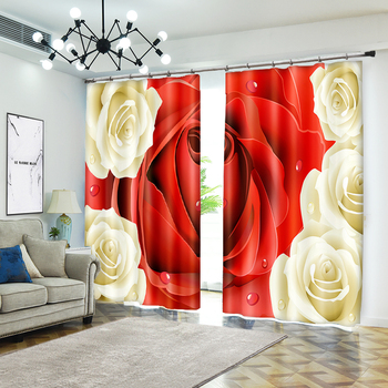 Creative Red And White Rose Bedroom Living Room Kitchen Home Textile Luxury  Window Curtain 3D Sunshade Curtain Customize Size