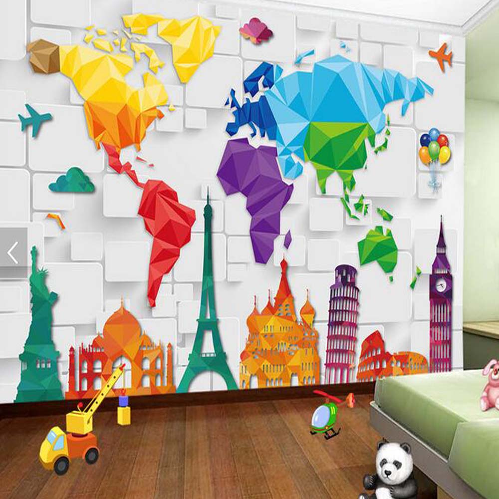 Colorful Kids Room Design: Kids Bedroom Wallpaper Colorful World Map Abstract