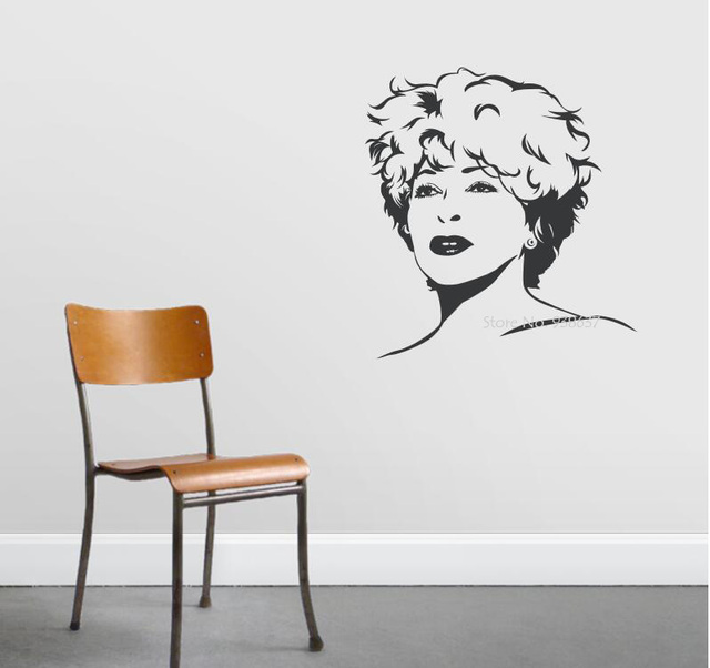 Famous Singer Vinyl Wall Stickers Removable Decoration Tina Turner Decals  Rock Queen Wall Decal 3d Poster