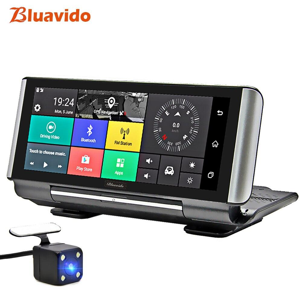 Bluavido 6,86 pulgadas 4G coche DVR Cámara GPS FHD 1080 P Android Dash Cam navegación ADAS coche grabadora de vídeo lente doble imagen inversa