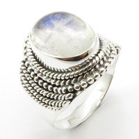Solid Silver Natural Blue Rainbow Moonstone Ring Size 9 Face Width 20 mm Unique Designed