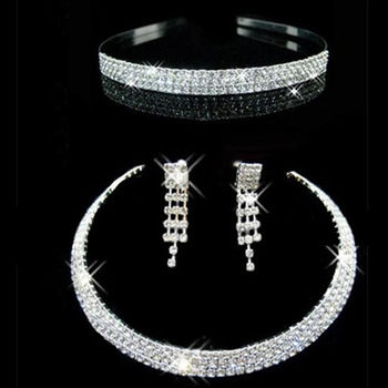 Charming! Gorgeous crystal wedding necklace earrings sets rhinestone wedding accessories bridal crown tiara jewelry set faux crystal wedding jewelry set