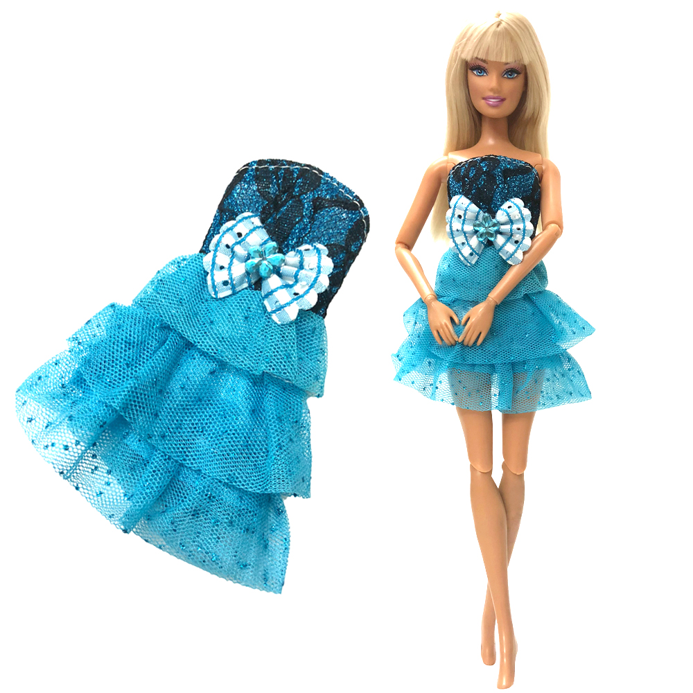 NK One Set Newest Doll Dress Beautiful Party Concise Style Clothes Top Fashion Dress For Barbie Noble Doll Best Girls' Gift DZ