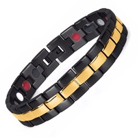 Brand Design Health Energy Bracelets Bangles Men Black Plated IP Gold Bracelet Bio Magnetic Stainless Steel