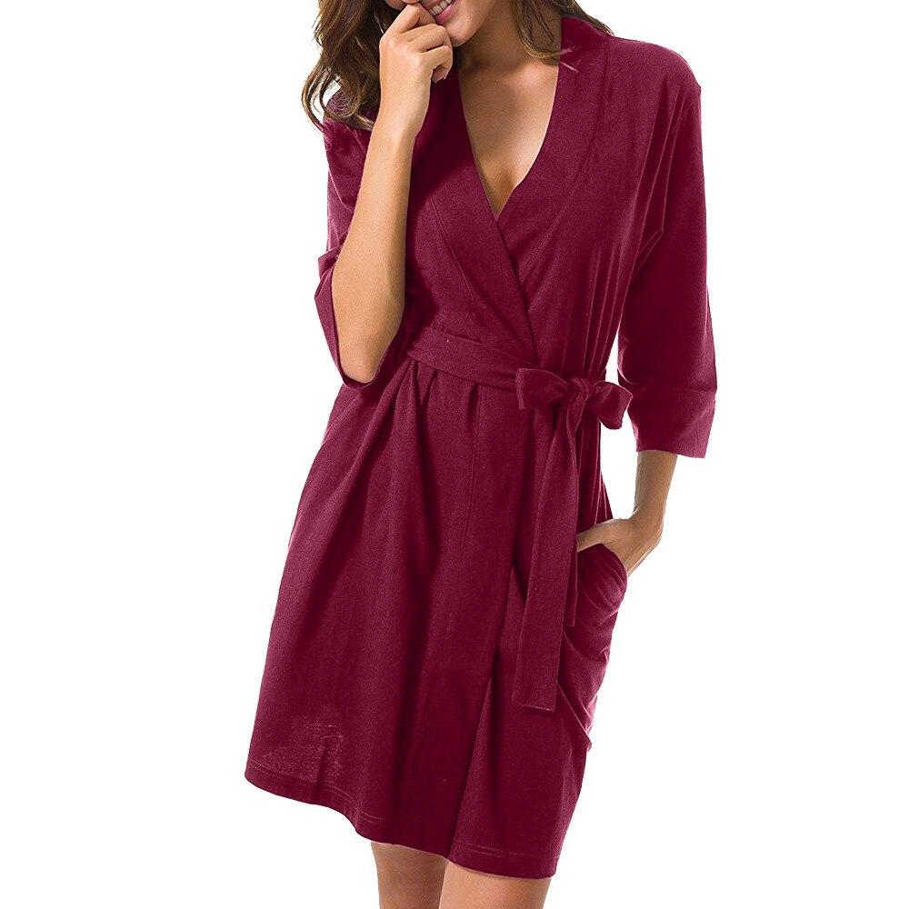 Women Solid 3/4 Sleeved Robe Bandage Kimono Bathrobe Loungewear Sleepwear Dress Bathrobe Women Dressing Gown
