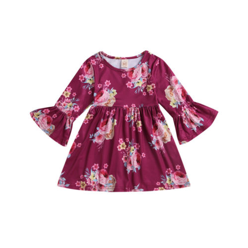 Toddler Kids Baby Girl Clothing Dresses Flower Bell Three Quarters Sleeve Princess Beach Cute Dress Casual Clothes Girls 3M-4T spring autumn cute baby kids girls party dress kids clothes cotton toddler girl clothing long sleeve baby girl princess dress