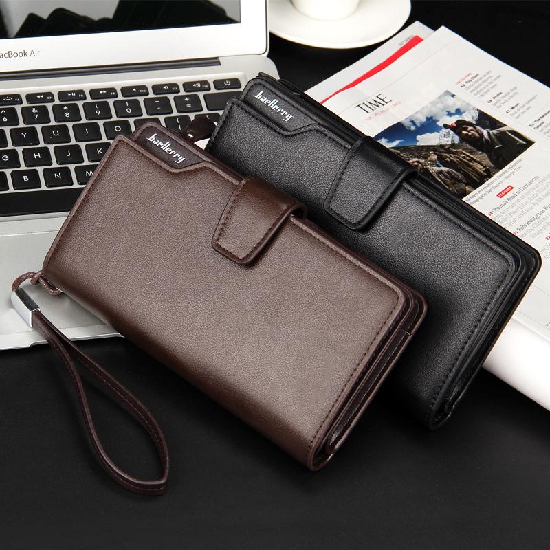 Top Quality leather long wallet men zipper wallets men women money bag pocket mltifunction brown one size 5