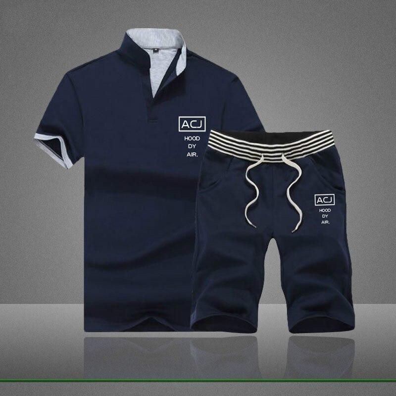 2019 модный спортивный костюм, трендовый стиль, Мужской комплект с футболкой и шортами, мужские костюмы, Летний дышащий комплект с шортами, сп...