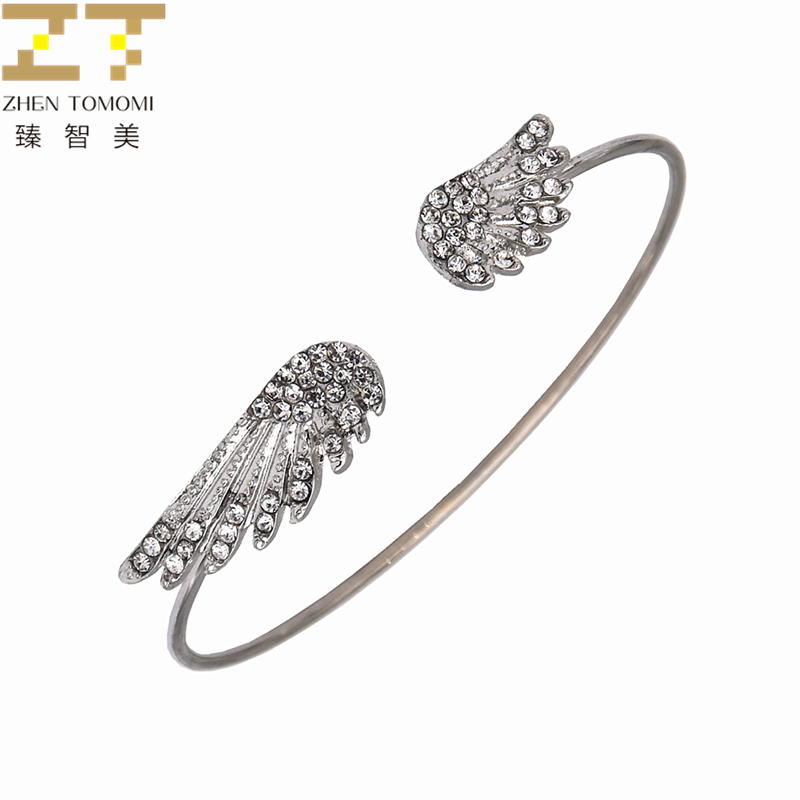 2018 New Arrivals Hot Fashion Silver Plated Crystal Wings Adjustable Big/small Open Charm Cuff Bracelets Bangles Women Jewelry