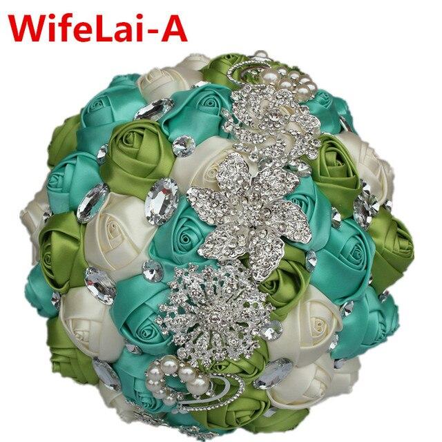 100% Ручной Работы Красочные Рука Свадебные Букеты Зеленый Кот Искусственные Цветы Алмазы Свадебные Свадебные Букеты Stitrch W228