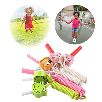 Rope Skip Skipping Rope Cord Standard Fitness Kids Outdoor Game 2.4 Meter Cartoon High Quality Wooden Handle Jump Rope Toys skipping rope