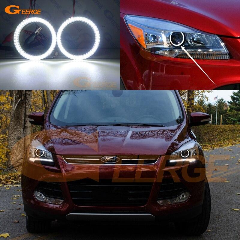 купить For Ford Escape kuga 2013 2014 2015 XENON HEADLIGHT smd led Angel Eyes kit Day Light Excellent Ultra bright illumination DRL по цене 1760.22 рублей