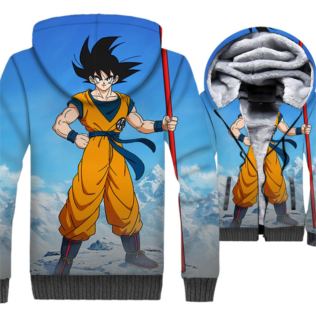 Anime Dragon Ball 3D Hoodie Men Super Saiyan Hooded Sweatshirt Harajuku Coat Winter Thick Fleece Warm Zipper Vegeta Jackets Mens