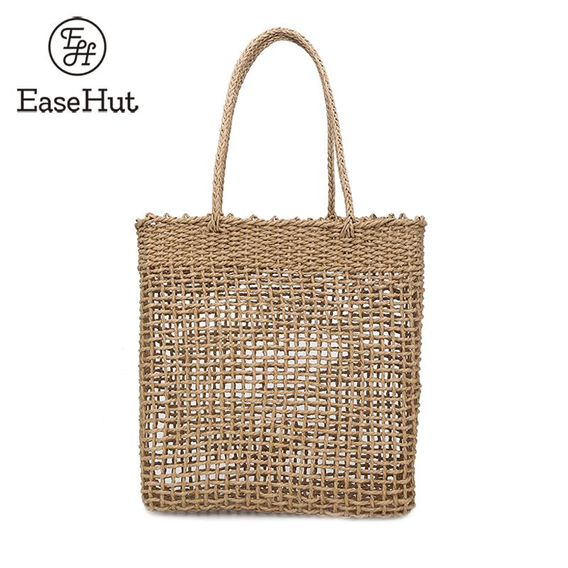 EaseHut Woven Handmade Rattan Bag For Women Boho Summer Beach Shopping Travel Tote Large Capacity Hollow Out Straw Bag Designer