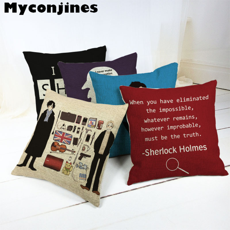 Handsome Portrait Cotton Sherlock Holmes 45x45Cm Square Striped Cushion Cover Handmade Living Room Sofa Office Chair Decorate