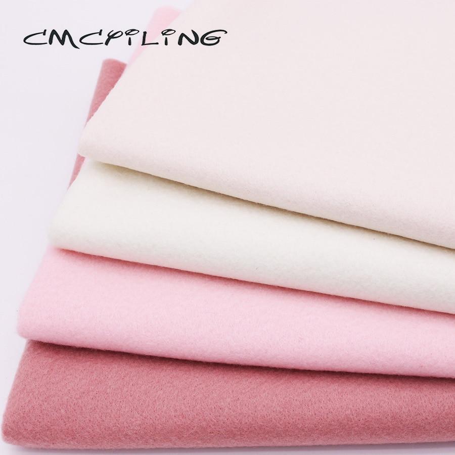 CMCYILING 4 Pcs/Lot,45*55cm Soft Felt Fabric For Kids Needlework DIY Sewing Dolls Crafts 1.2 MM Thickness Polyester Cloth