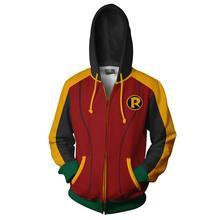 VIPแฟชั่น2019ขายCool 3dพิมพ์DC Super Hero Inspector Robinชุดเสื้อสำหรับชายCosplay Zipper Hoodies