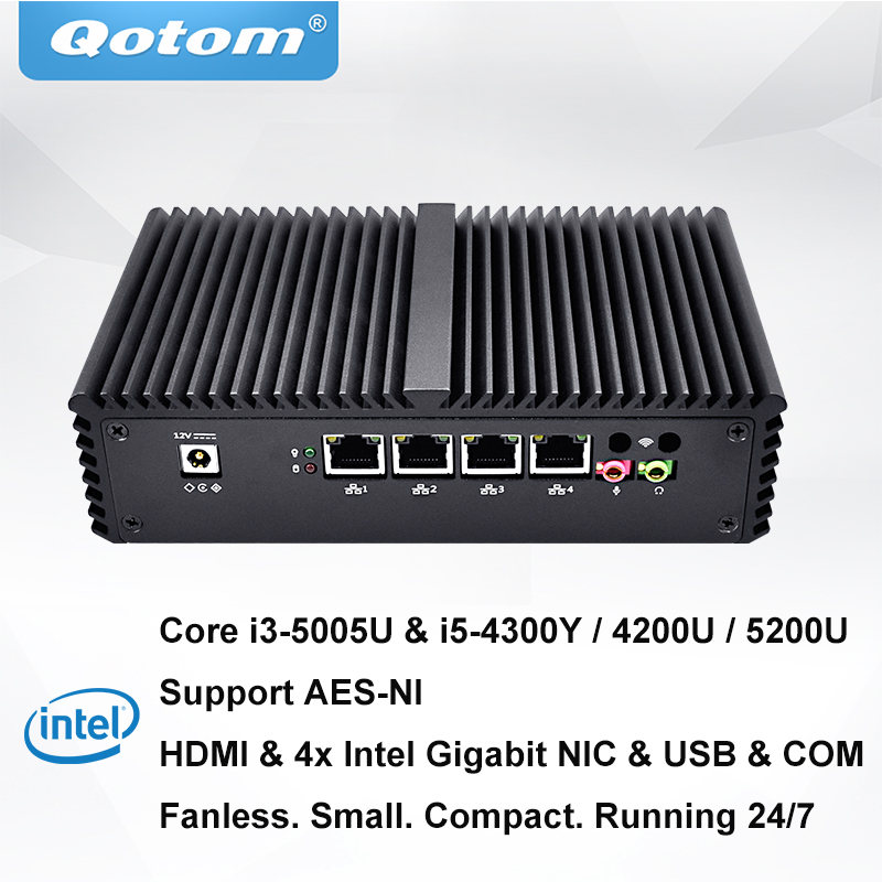 QOTOM Mini PC with Core i3 i5 processor and 4 Gigabit NICs AES NI RS232 Fanless