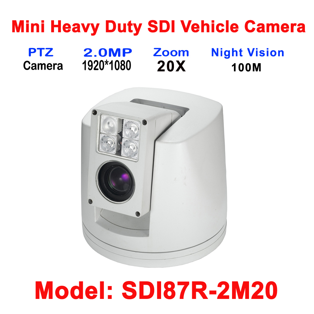 2MP Heavy Duty Mobile Car Bus Truck Vehicle HDSDI PTZ Camera With 4.7-94mm 20X Auto Zoom DC12V Day/Night IR 100M IP66 Waterproof