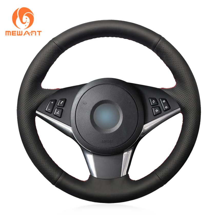 MEWANT Black Genuine Leather Car Steering Wheel Cover for BMW E60 530d 545i 550i E61 Touring