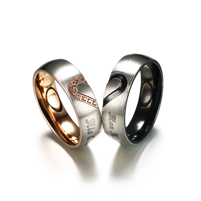 Stainless Steel Heart Shaped Rings With Cubic Zirconia And  Her King His Queen Engravings