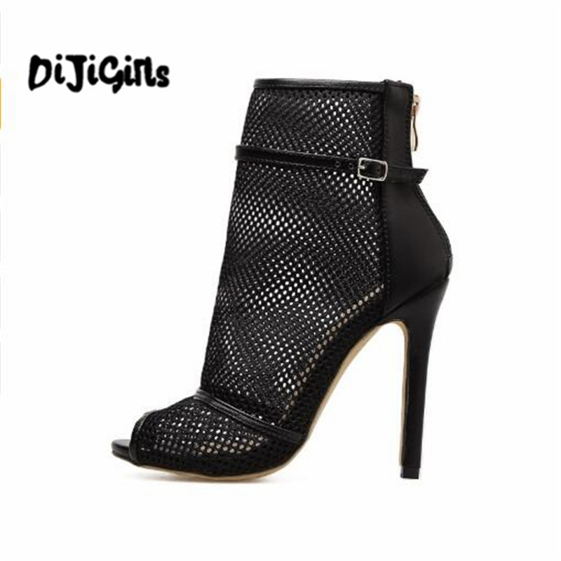 Shoes Sexy Mesh Strappy Fish Mouth Shoes High Heels Net Yarn Summer Sandals Women Boots High quality Shoes Woman Black women sandals 2017 summer gauze high heeled shoes lace fish mouth women sandals fashion summer ankle boots s069