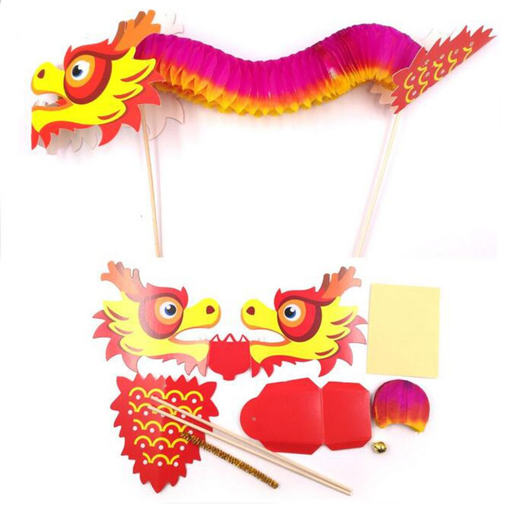 Red Dragon Flower Paper Material Package DIY Dragon Dance Kids Boy Girl Gift LD
