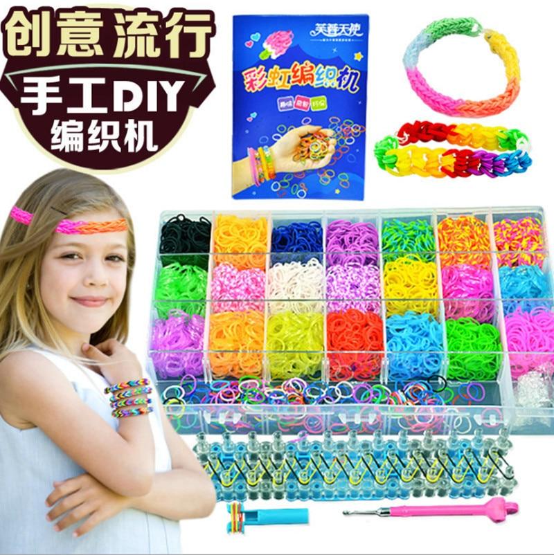 children toy Weaving Machine for DIY charm bracelet xmas gift rubber bands loom weaver kit crochet Elongated knitting machine|loom weaver|loom machine|knitting loom -