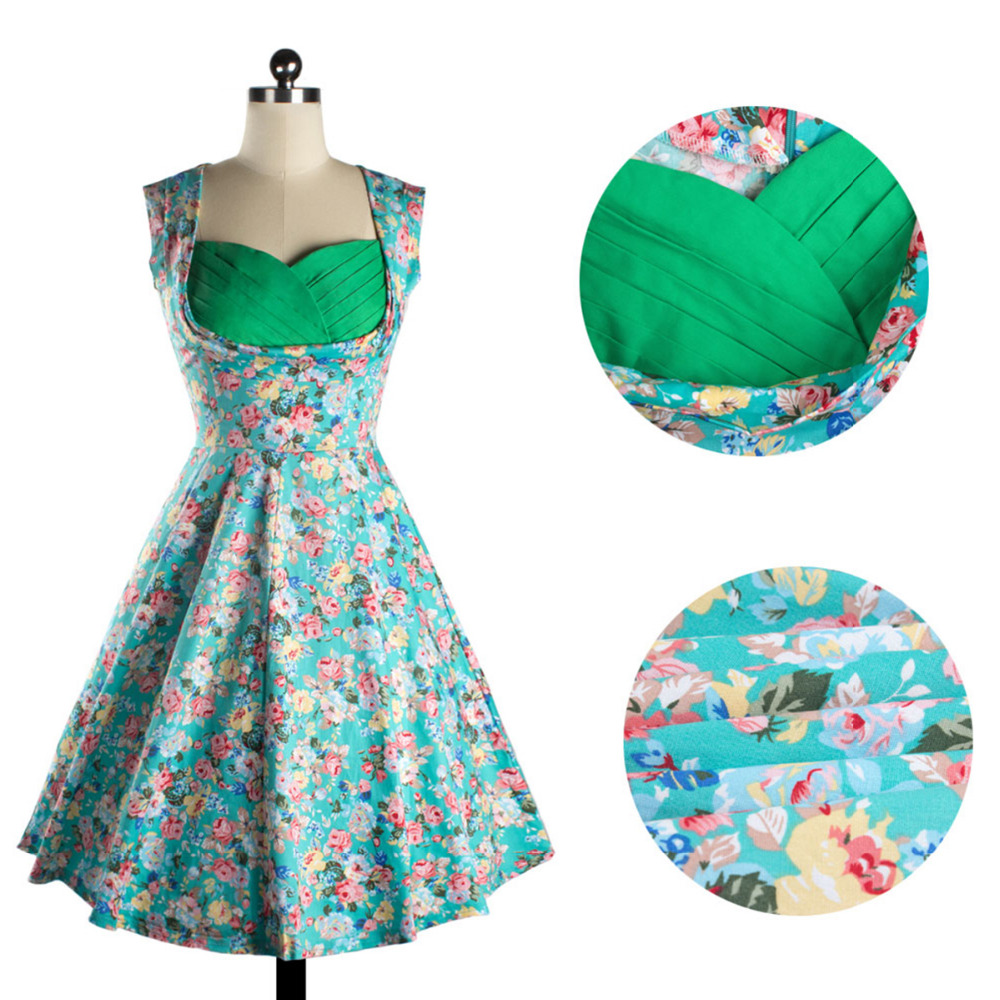 Women Vintage Floral Printed 50\'S 60\'S Swing Pinup Retro Party ...
