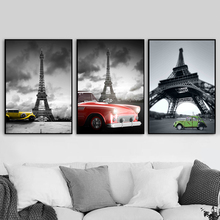 Paris Tower Vehicle Car Nordic Posters And Prints Wall Art Canvas Painting Landscape Pictures For Living Room Home Decor