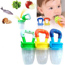 wholesale 0-24Month Baby Fruit Pacifier Nipple Fresh Food Milk Nibbler Feeder Feeding Teat Bottles Clip Chain Teethers Pacifier(China)