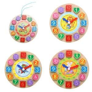 Image 4 - Per bambini In Legno Giocattoli di Puzzle Di Tangram Cognitivo Digitale Orologio Digitale Della Vigilanza di Legno Puzzle Giocattoli Educativi Del Fumetto Threading Giocattoli di Montaggio