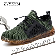 ZYYZYM Steel Toe Shoes Men Safety Boots Industrial & Construction Work Anti-piercing Protection Outdoors