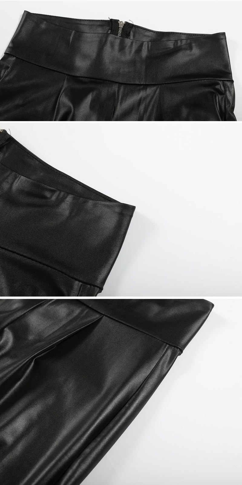 2018 ฤดูใบไม้ร่วงกลับซิปหนัง Faux Slim กางเกงผู้หญิงกางเกงหนังเซ็กซี่ดินสอสีดำสูงเอว PU กางเกง