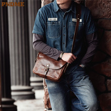 PNDME retro original genuine leather mens shoulder bag dropshipping first layer cowhide postman package crossbody bags