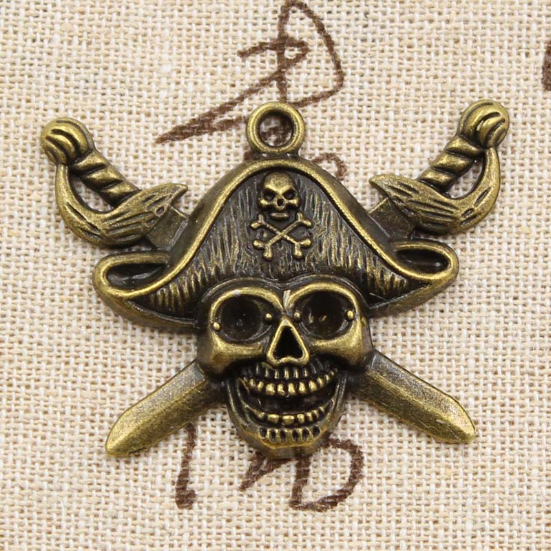 Charms Pendant-Fit Pirate-Flag Bronze Silver Antique-Making Vintage Bracelet Necklace