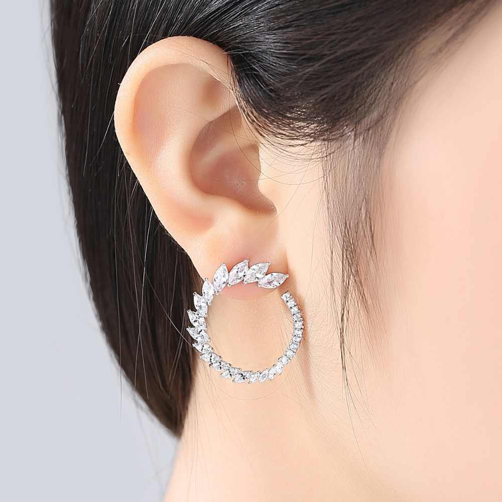 LUOTEEMI Brand Fashion Top Quality Cubic Zirconia Round Shape Stud Earrings For Women Anniversary Charming Earring Jewelry 2018