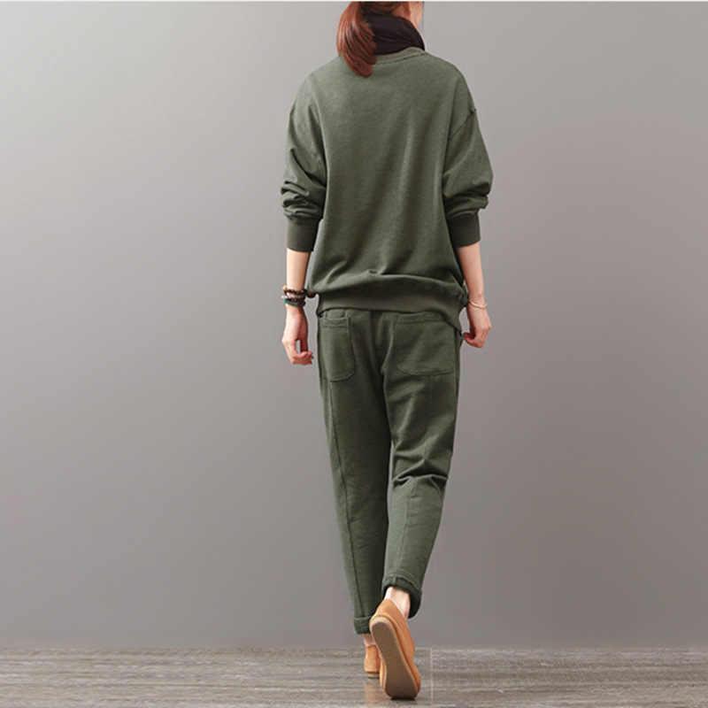 Hot Wanita Suit 2020 Musim Gugur Baru Warna Solid Saku Warna Yang Sesuai dengan Ukuran Besar Sweater Kasual Setelan Wanita pakaian