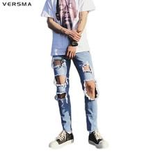 VERSMA 2017 Stylish Summer Hole Biker Ripped Jeans for Men Rip Curl Hip Hop Punk Jogger Denim Distressed Jeans 3/4 Harem Pants