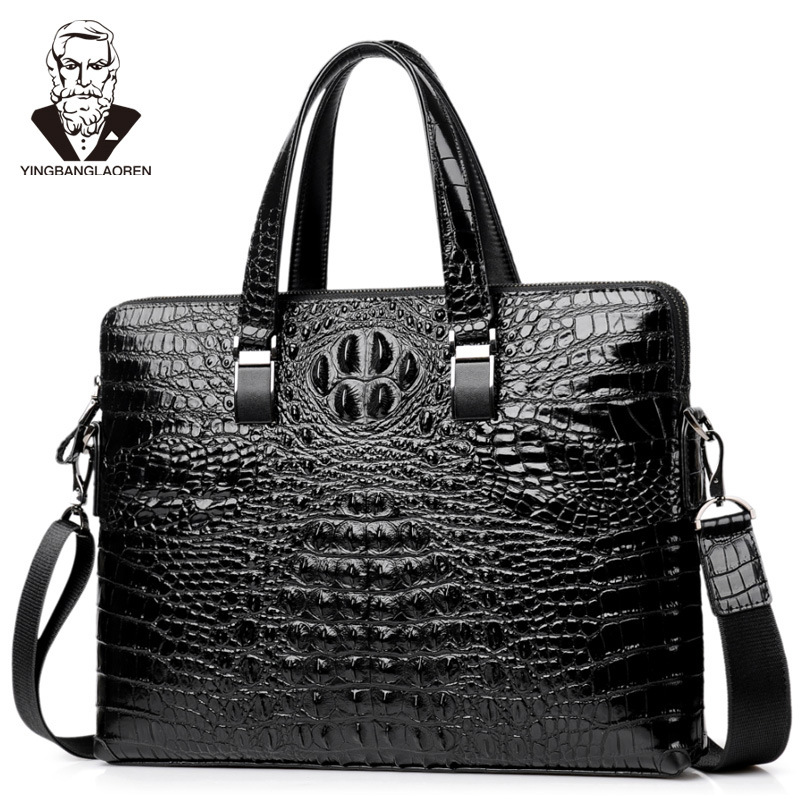 Crocodile Pattern Double Layers Briefcase Men's Cow Leather Business Handbag  Laptop Bag Male Shoulder Crossbody Bag Travel Bag