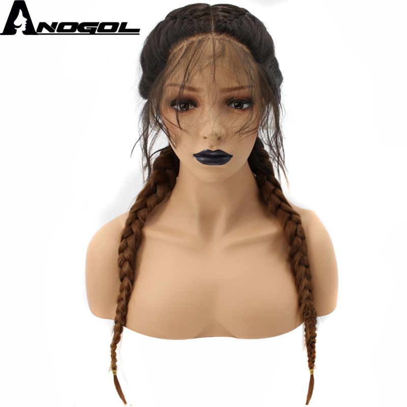 Anogol Brown Ombre Dark Roots Long Double Braids High Temperature Fiber Synthetic Braided Lace Front Wig