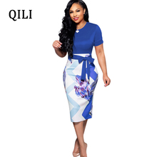 QILI Women Print Pencil Dress O Neck Short Sleeve Belted Fashion Elegant Dresses England Style Bodycon 2019