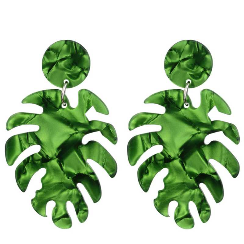 1Pair Summer Refreshing Leaves Acetate Plate Earrings Ladies Europe And The United States Personalized Earrings Holiday Jewelry