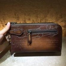 TERSE_OEM/ ODM New release leather clutch bag handmade top genuine leather wallet with wrist loop large capacity custom service