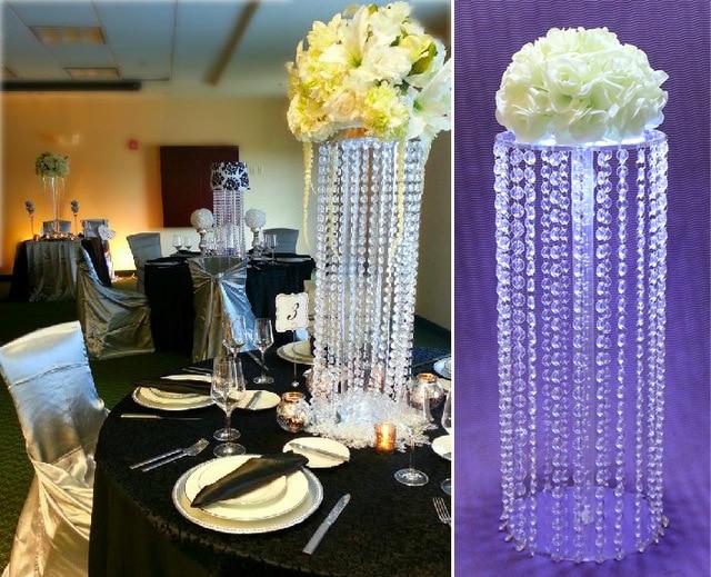 Acrylic Crystal Wedding Centerpiece Tall Flower Stand For Pillar Road Lead
