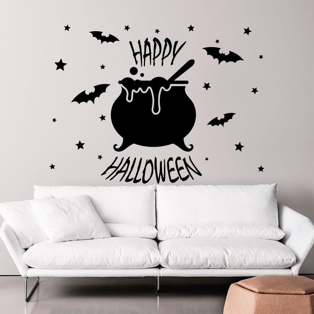 Happy halloween wall decals bat stickers star vinyl holiday home decor art
