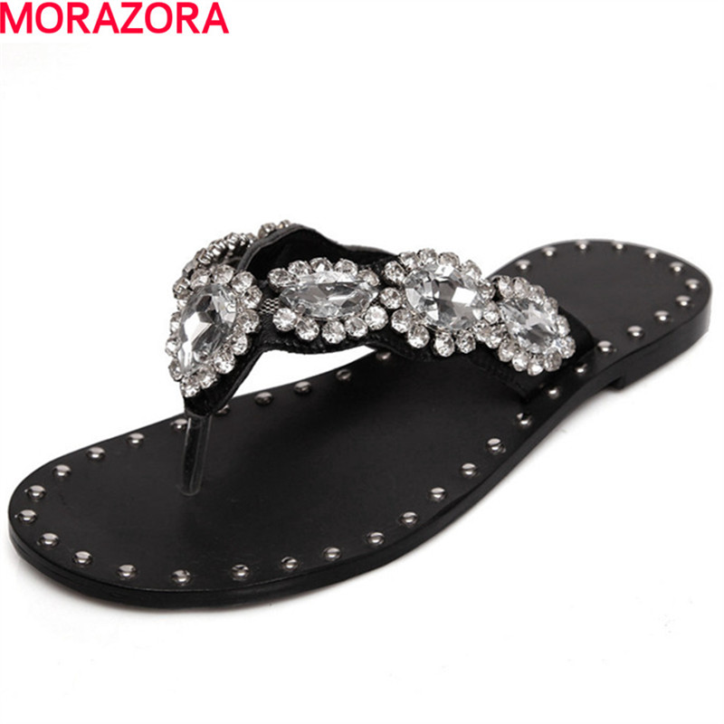 MORAZORA hot sale popular rhinestone top quality Shoes Women Sandals New leisure Flip Flops flat ladies summer woman beach shoes anmairon shallow leisure striped sandals women flats shoes new big size34 43 pu free shipping fashion hot sale platform sandals