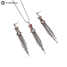 European and American popular party present delicate stained glass drill set jewelry fashion ladies earrings necklace