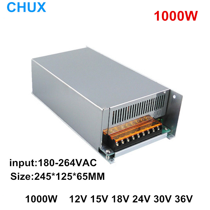 1000W Switching Power Supply 12V 15V 18V 24V 30V 36V Single Output Transformer input AC110V or 220V SMPS variable dc